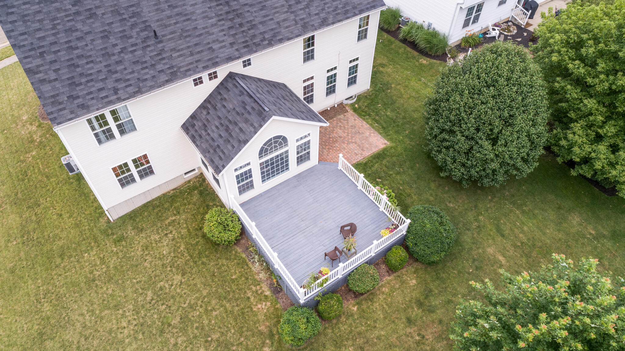 Drone of the back deck and patio