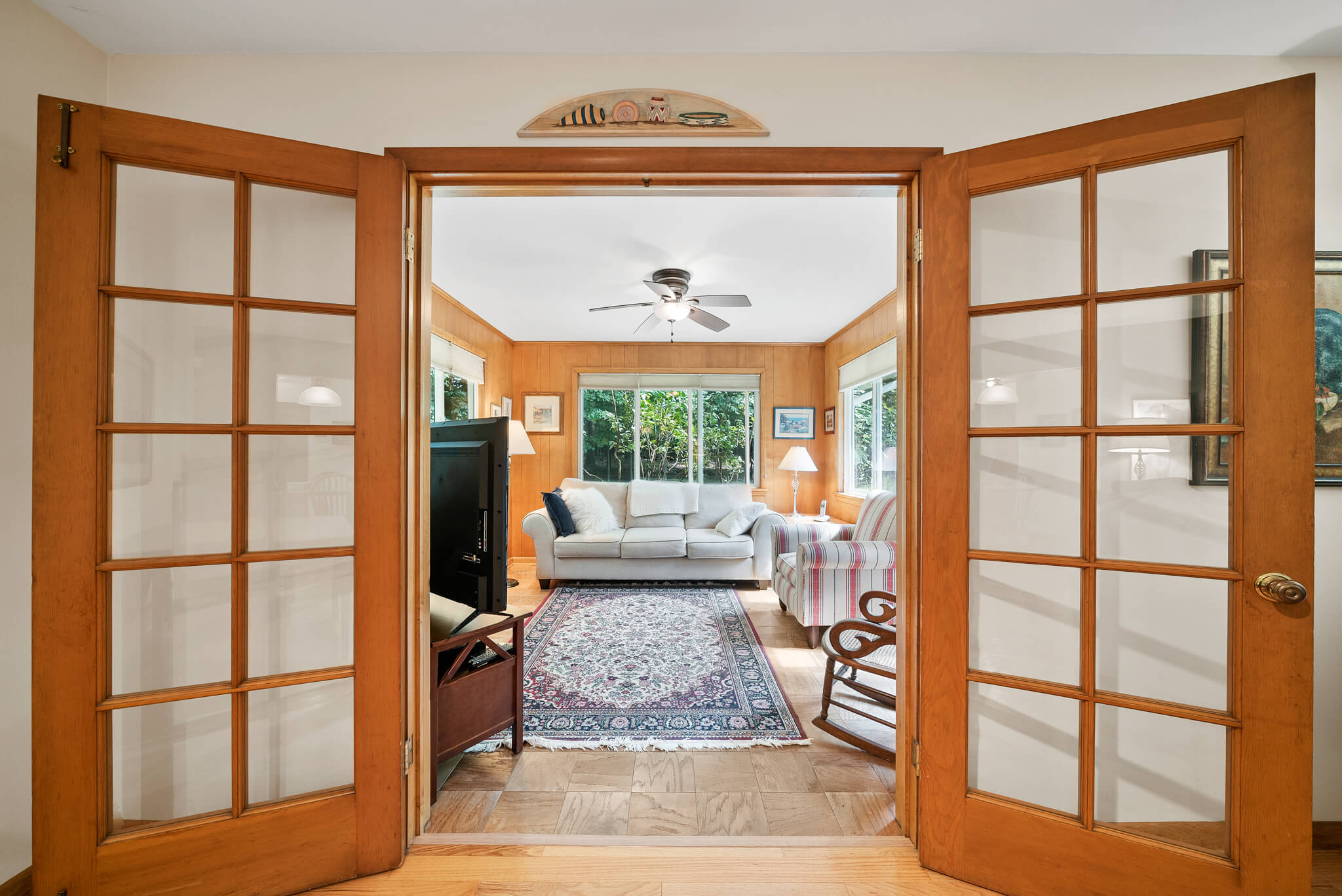 French doors into the study at 4349 Orandale Dr in Chagrin Falls