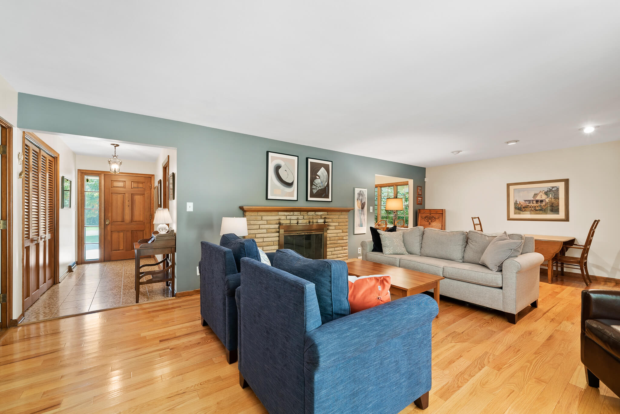 Family room with fireplace at 4349 Orandale Dr in Chagrin Falls